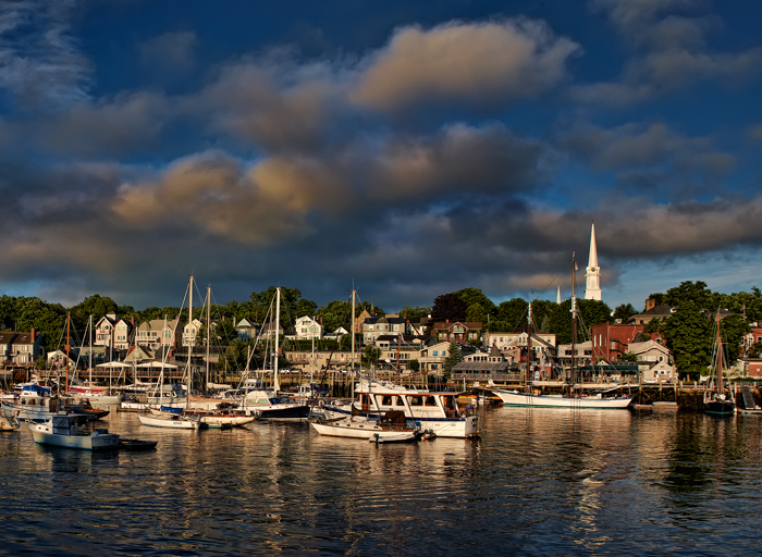 Camden, Maine harbor just after sunrise