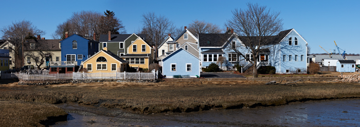 Houses, New England, On the Water, Panorama, Portsmouth, New Hampshire, NH, photo