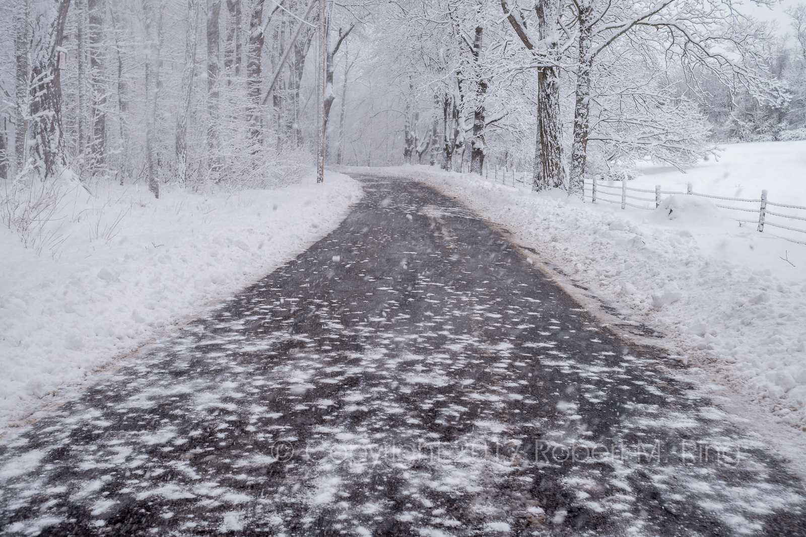 I called this Falling Snow as I stood in the middle of the road a wind gust blew the snow you see on the road on top of me!