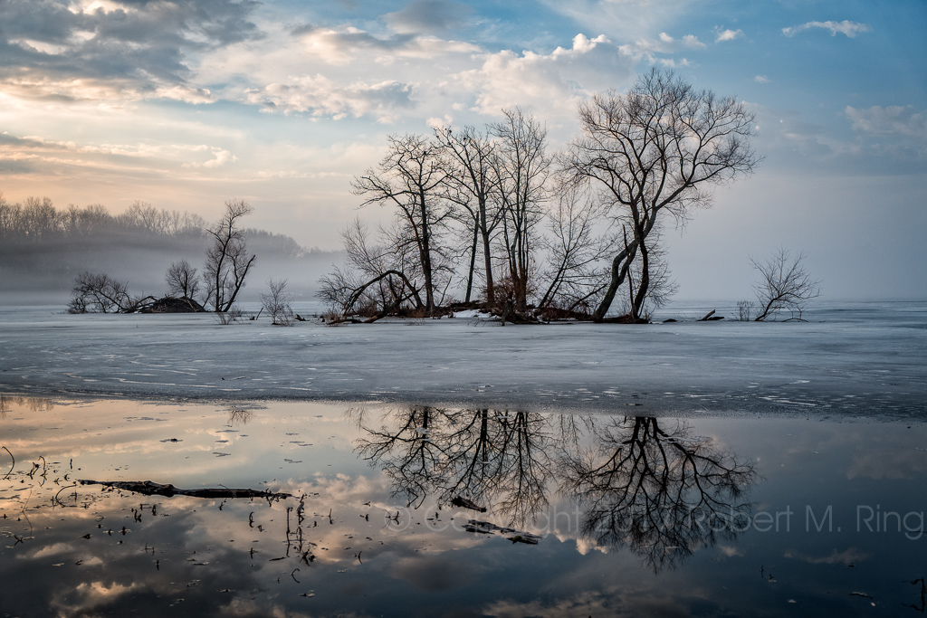 new england, fog, reflection, water, reservoir, trees, sky, clouds, photo