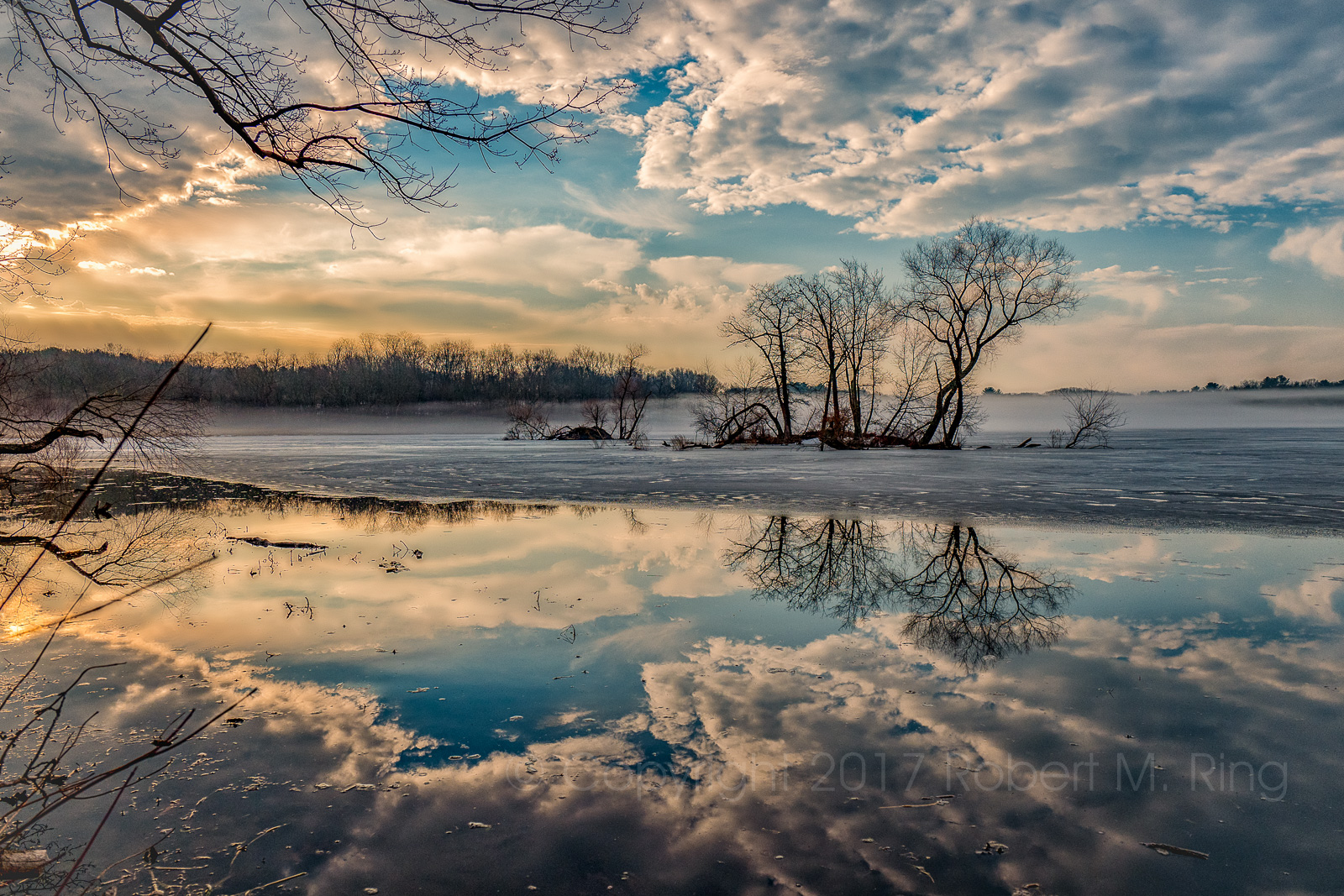 Clouds, Ice, MA, Spring, Trees, Upper Artichoke Reservoir, New England, Fog