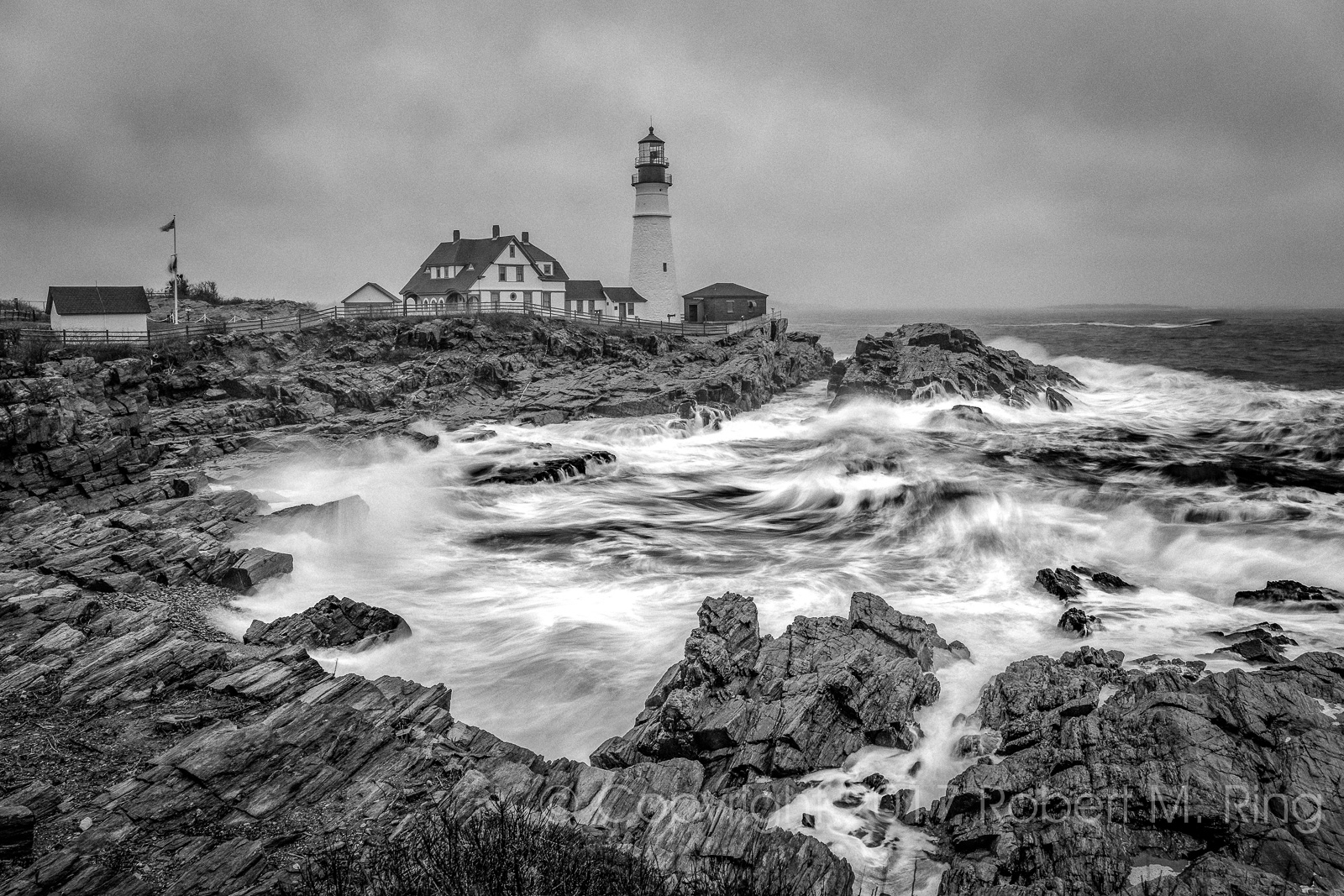 Maine, New England, Portland Maine, coast, waves, black & white