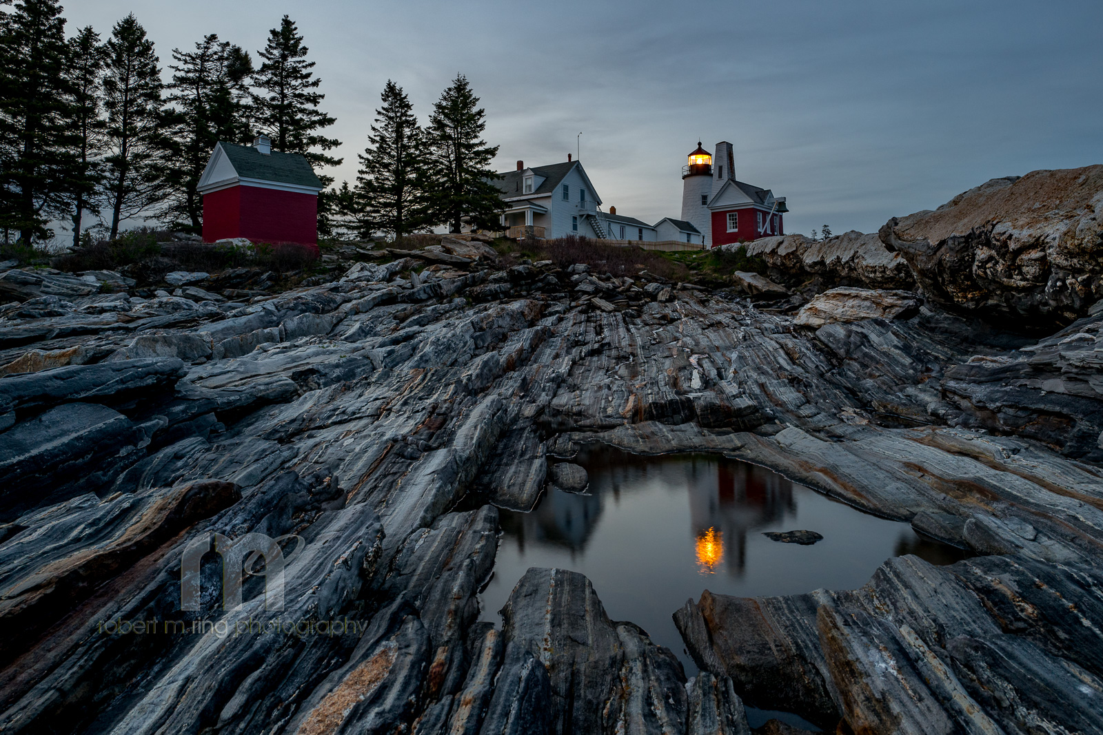 Pemaquid Point Lighthouse, New England, coast, Maine, reflection, after sunset