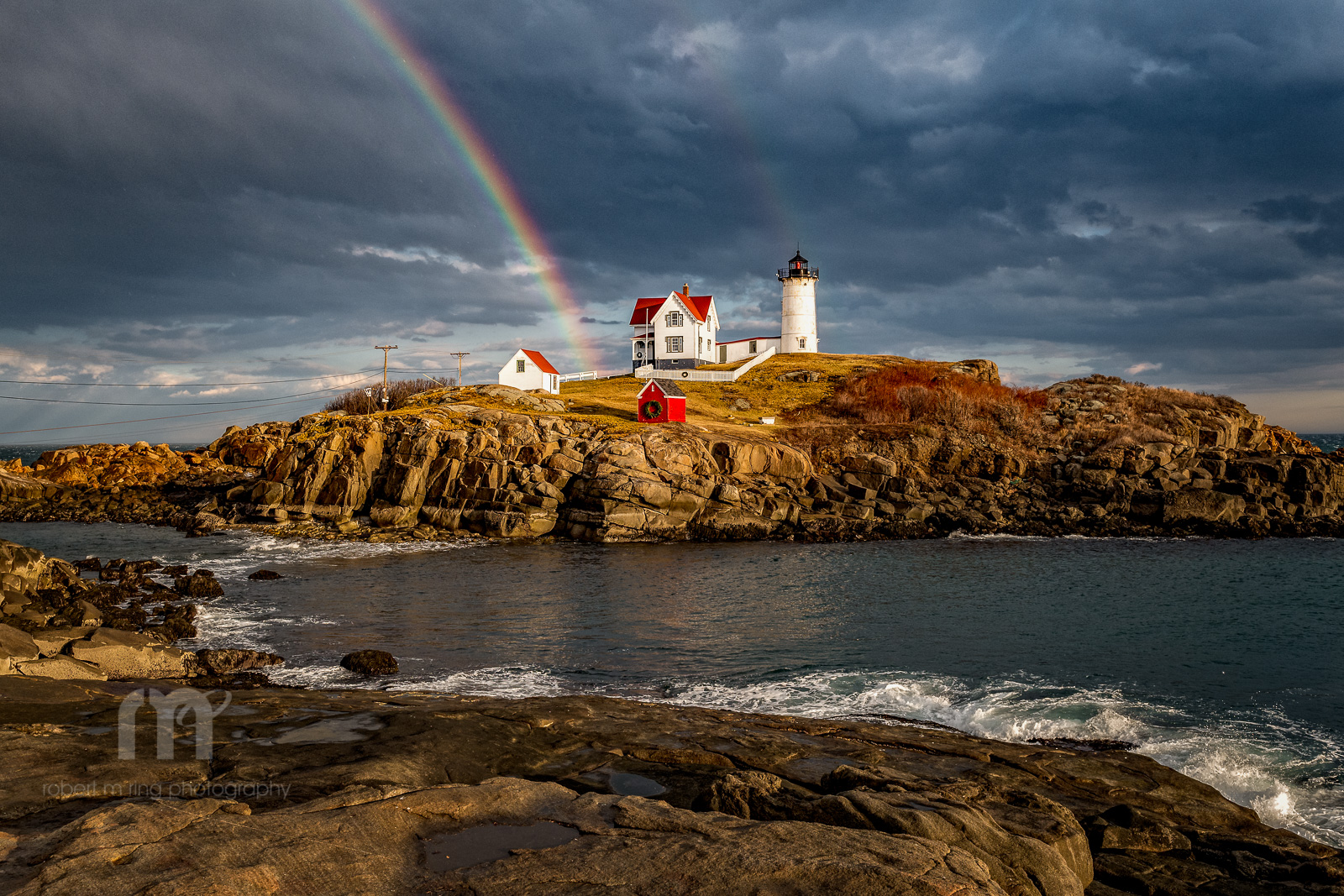 Maine, Nubble Light,Maine coast, New England, Lighthouse, Rainbow,Rainbows, photo