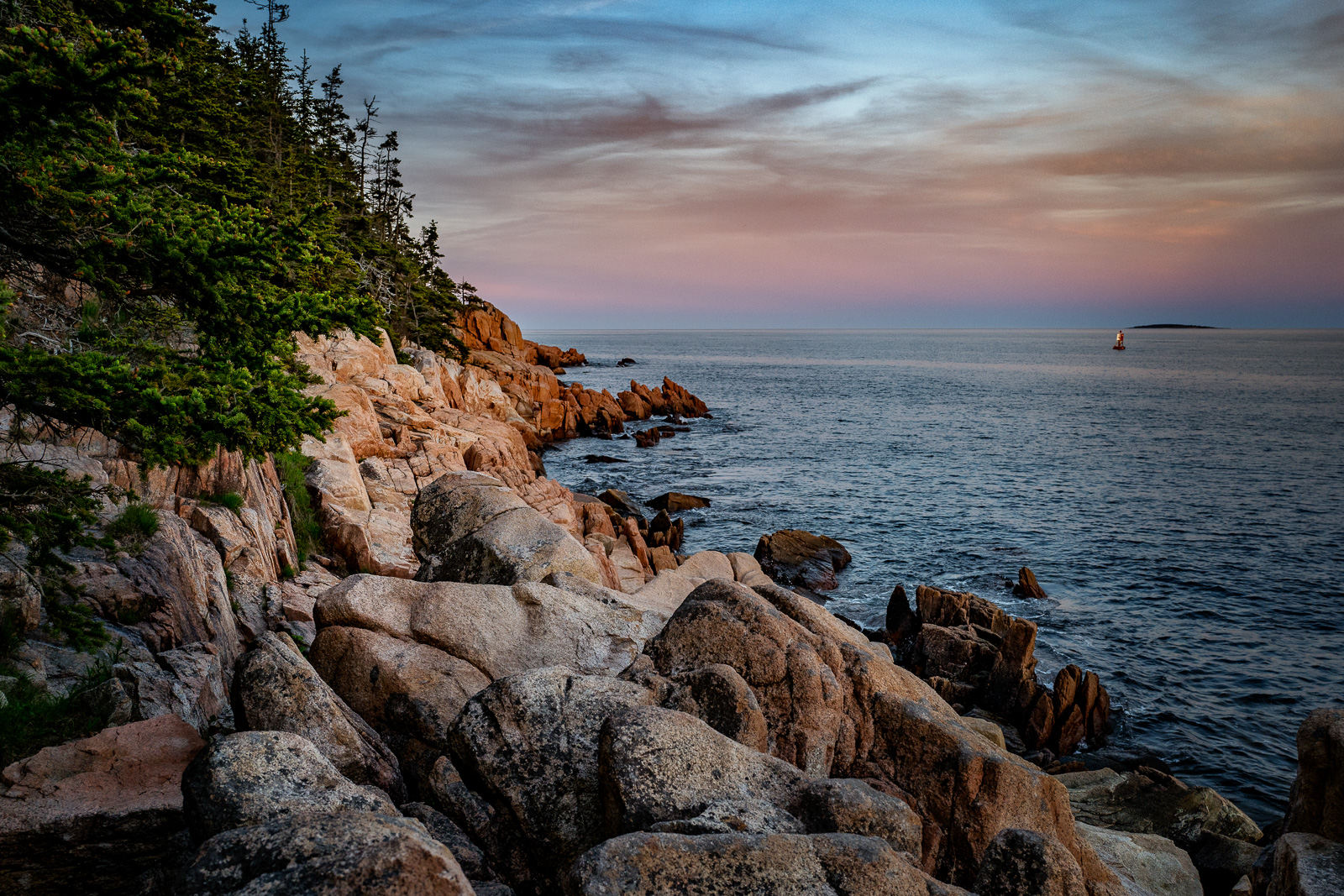Acadia, Bass Harbor Lighthouse, Maine, New England, Coast, sunset,