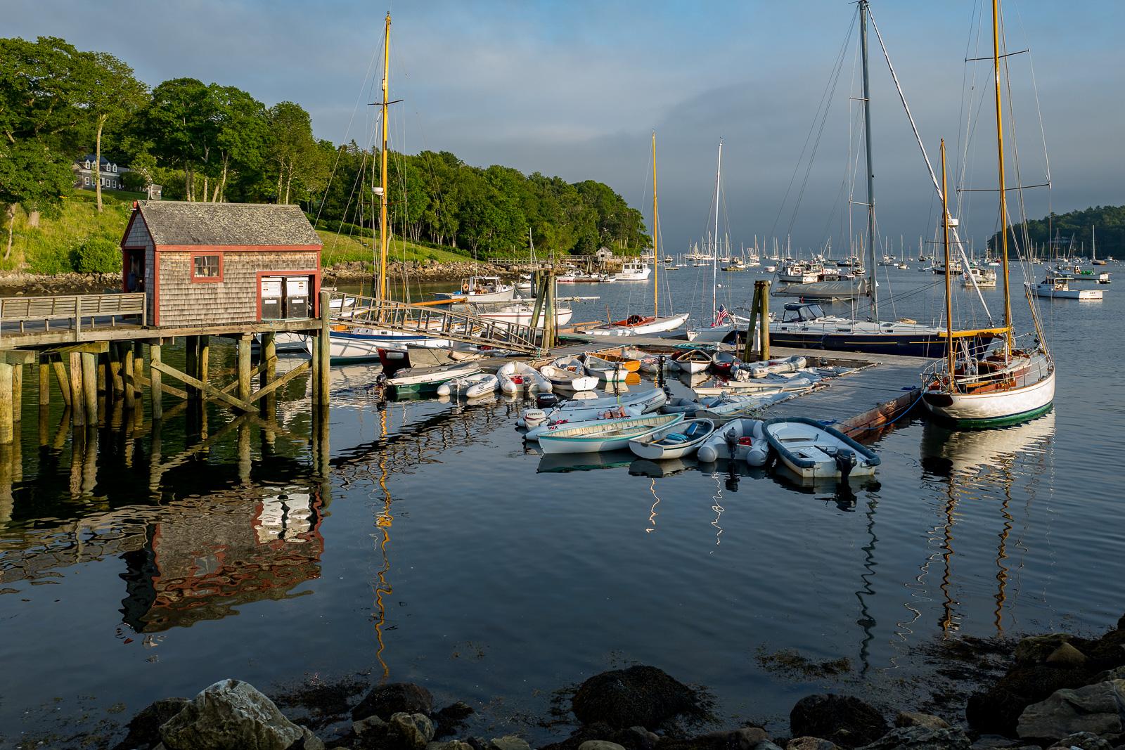 Maine, harbor, New England, sunset, mid coast Maine