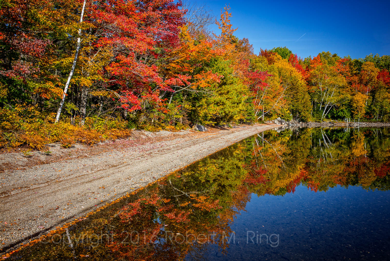 Camp, Schoodic lake, Maine, New England, reflection, foliage, photo