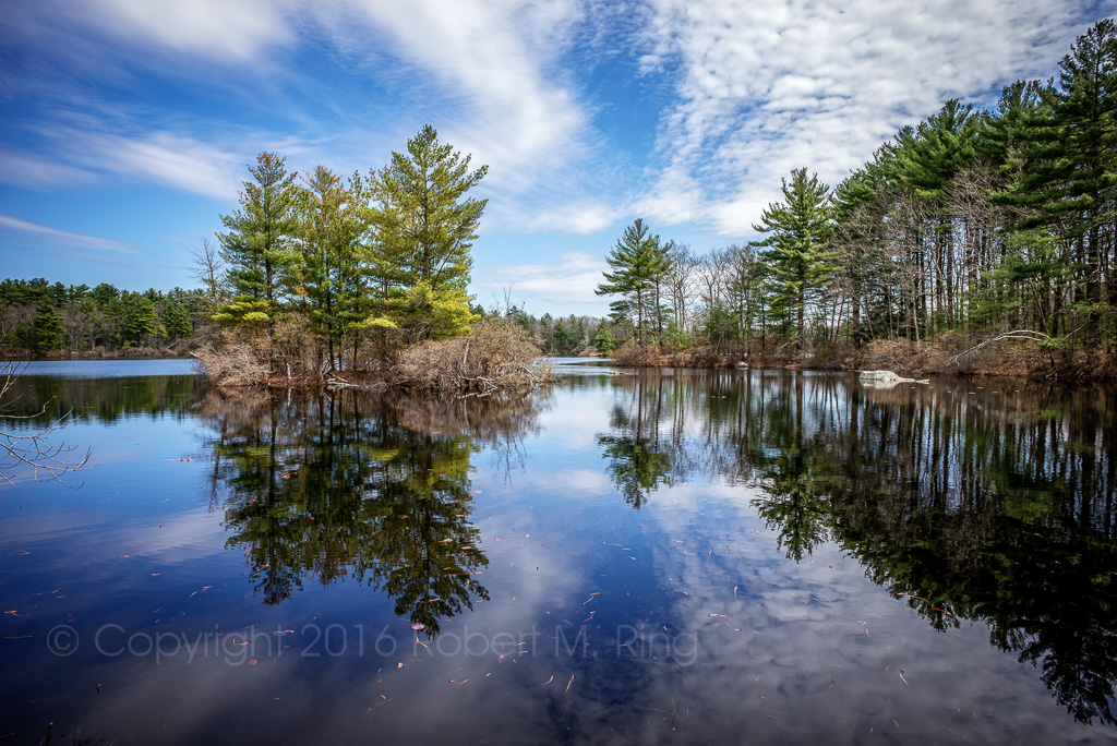 Sky, clouds, pond, scene, photo