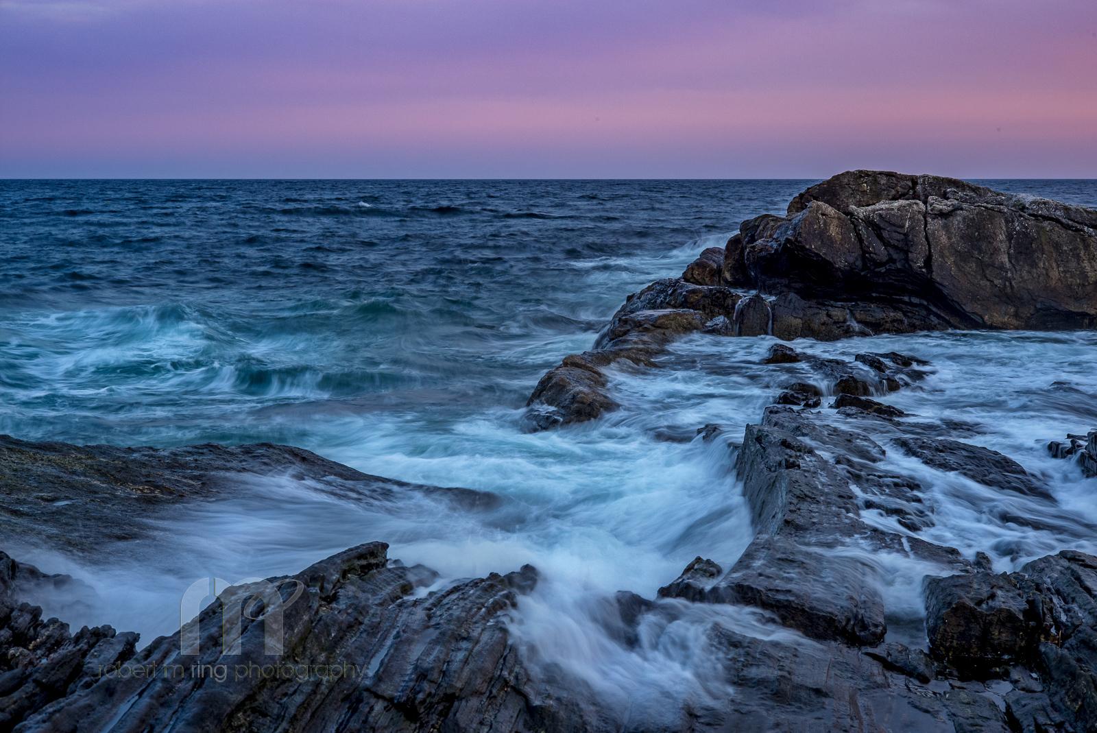 Maine, Lighthouse, coast, New England, ocean, wave, time exposure, sunset