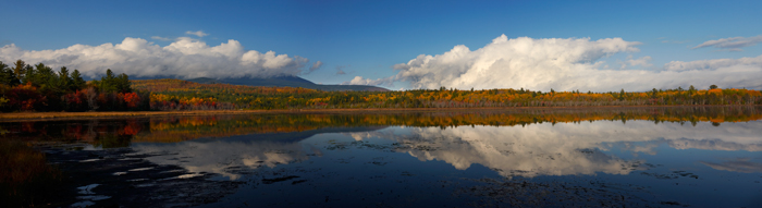 Mt. Katahdin, Baxter State Park, State Park, Maine, Millinocket, Clouds, Reflection, Panorama, New England, photo