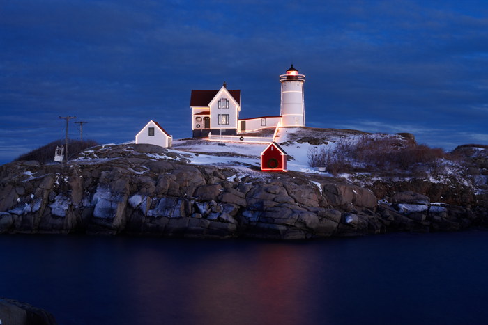 Nubble Lighthouse, York, Maine, Nubble, Lighthouse, Christmas, Dusk, Christmas Lights, New England, photo