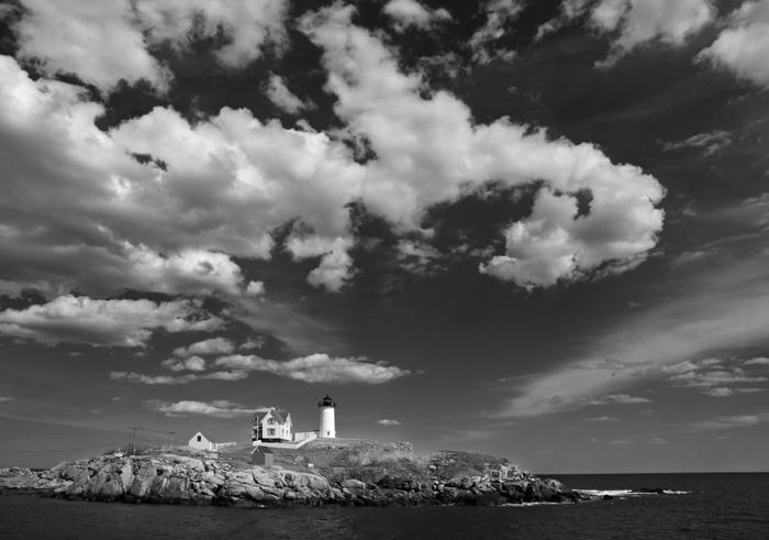 Nubble Light, Nubble Lighthouse, York, Maine, Ocean, Black & White, photo