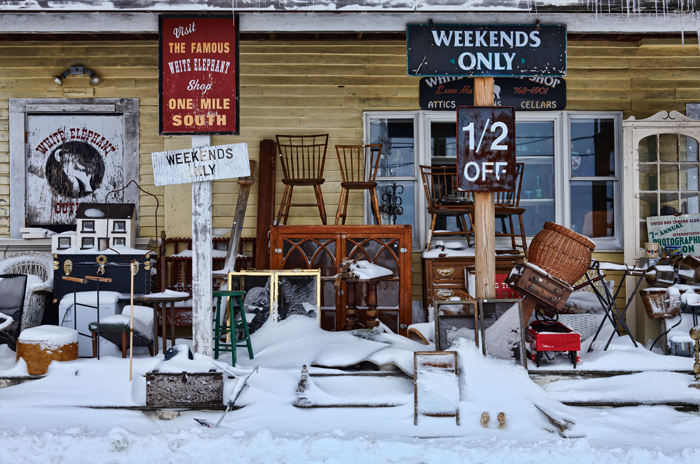 Store Front, porch, antiques, collectibles, snow, Ipswich, Massachusetts, Store, New England, photo