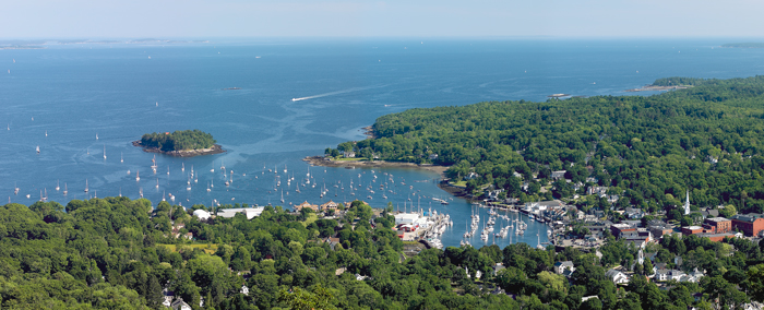 Mt. Battie is a small mountain that one can drive their car up for views like this of the coast and in particular Camden Harbor...