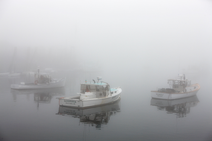 Owls Head, Maine, Boats, Fog, New England, Coast, Lobster Boats, photo