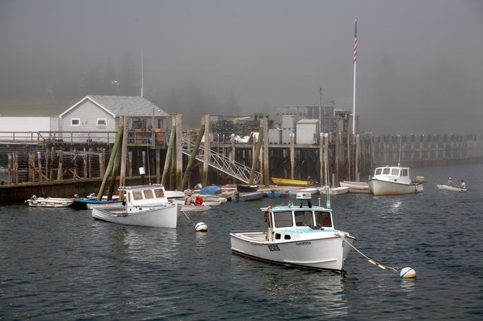 Owls Head, Maine, Fog, Sun, New England, Boats, Harbor, Lobster Boats, photo