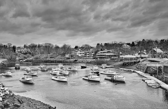 Perkins Cove, Maine, New England, Black & White, Boats, Harbor, photo