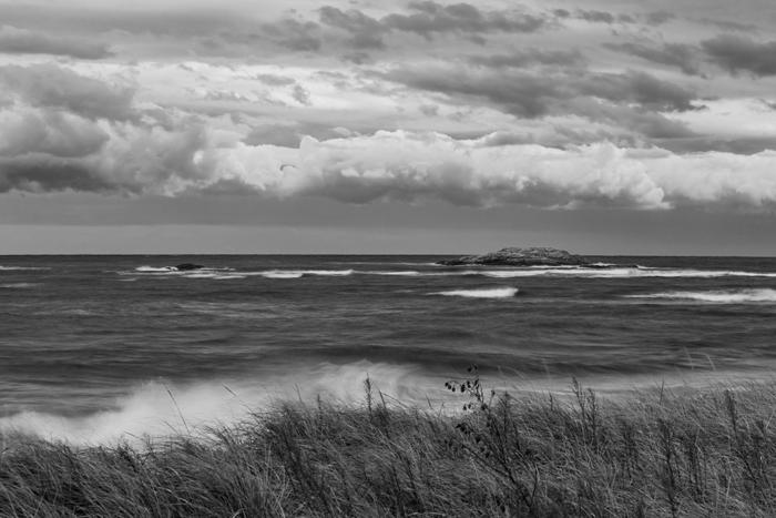 Popham Beach, Popham, Beach, Phippsburg, Maine, New England, Black & White, Ocean, Atlantic Ocean, photo