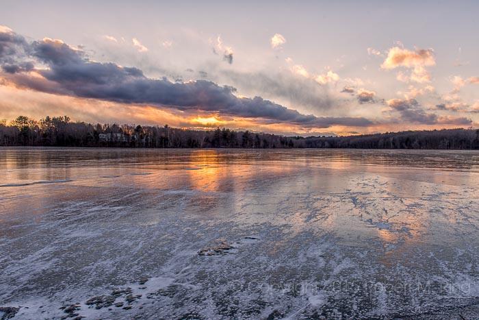 Sunset, ice, windy, Massachusetts, New England, cold, photo
