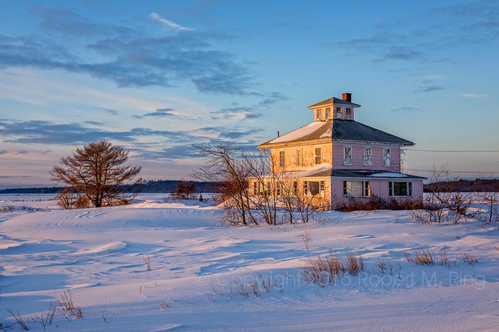 PRNWR, New England, Winter, snow, pink house, sunrise, Newburyport, photo
