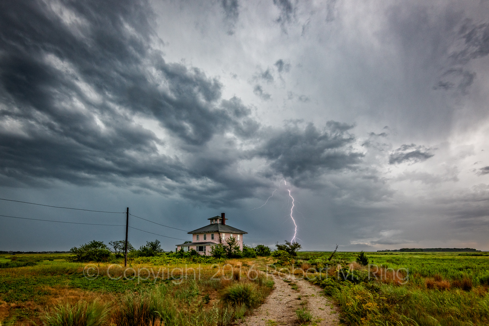 Storms, Pink House, Lightning, coast, clouds, sky, rain, New England, photo
