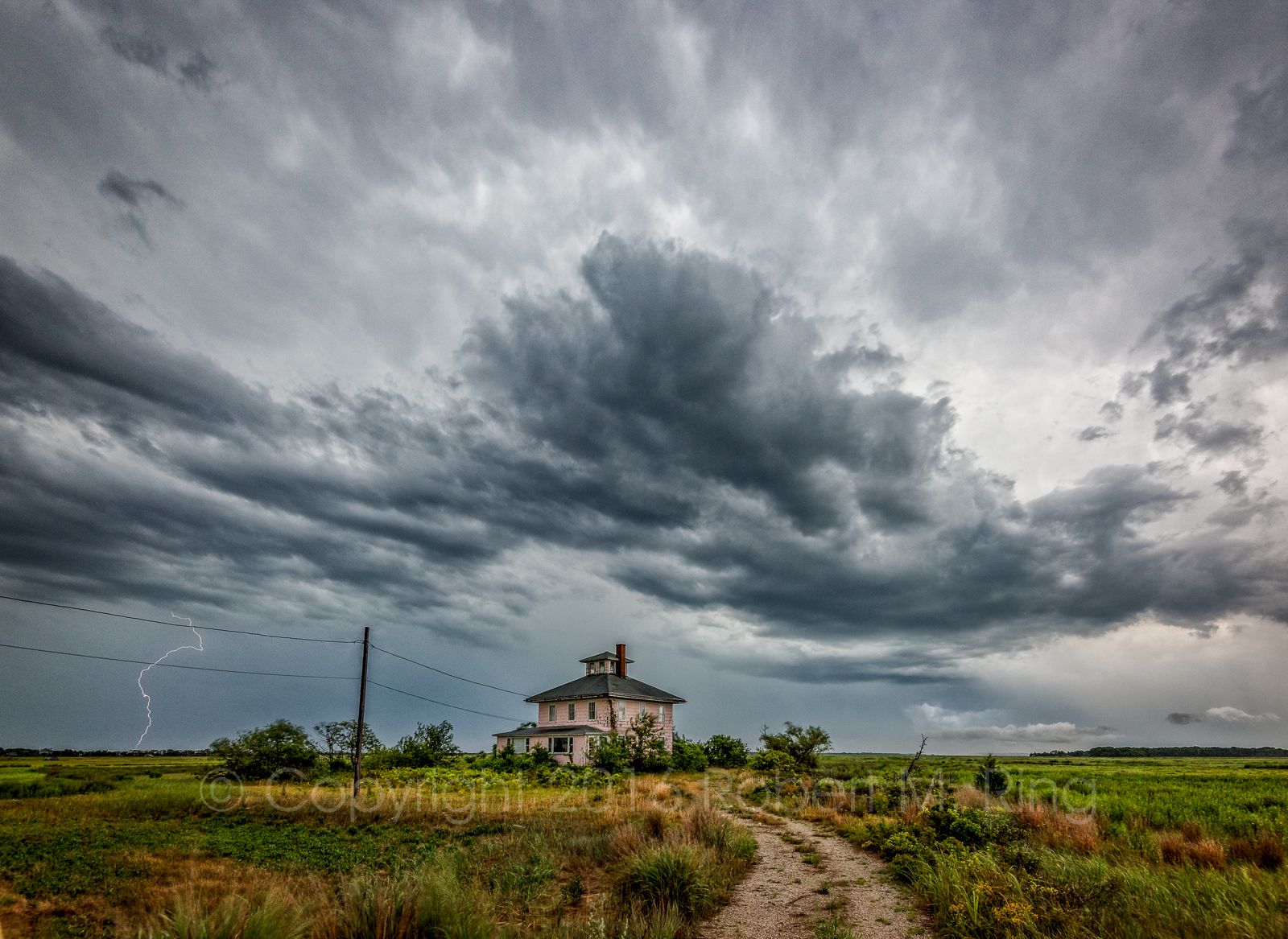 Storms, Pink House, clouds, sky, lightning, cloud, New England, photo