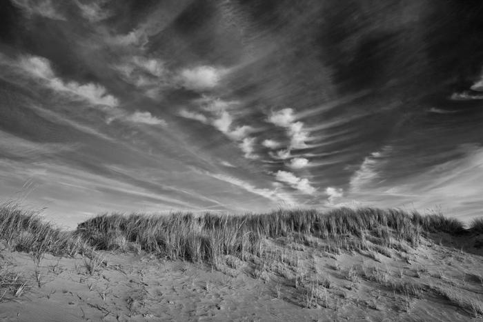 Salisbury Beach, Salisbury, Clouds, Massachusetts, New England, Black & White, Sand, Beach, photo