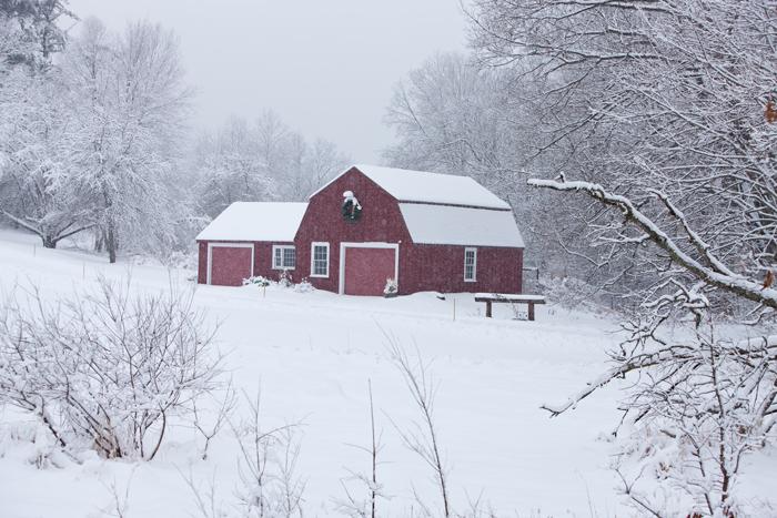 Snow, Snow Storm, Kensington, New Hampshire, New England, Barn, Red Barn, photo