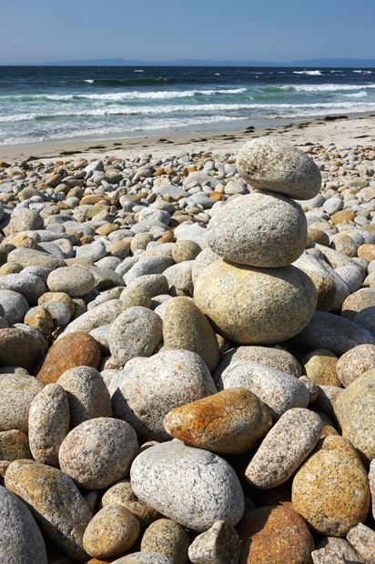 Stone, Stone Marker, Smooth Stones, Ocean, West of New England, Monterey, California, photo