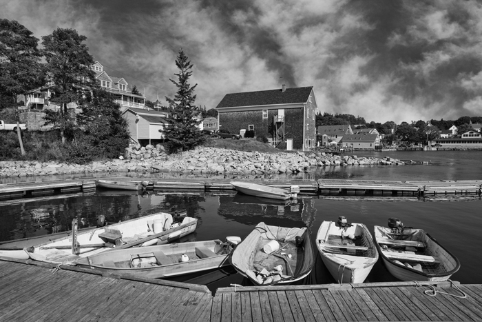Stonington, Maine, New England, Boats, Harbor, Black & White, photo