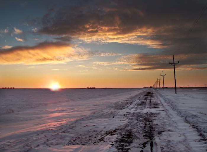 Sunset, Grand Forks, North Dakota, Winter, West, West of New England, photo