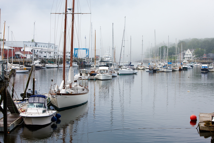 The boats in this harbor are mostly located in the middle with a waterway around them.