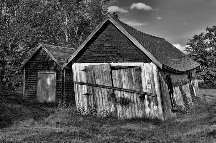 Damariscotta, Maine, Barns, New England, Black & White, photo