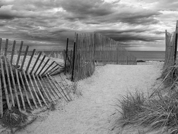 Walkway, Salisbury Beach, Salisbury, Massachusetts, New England, Sand, Beach, Black & White, photo
