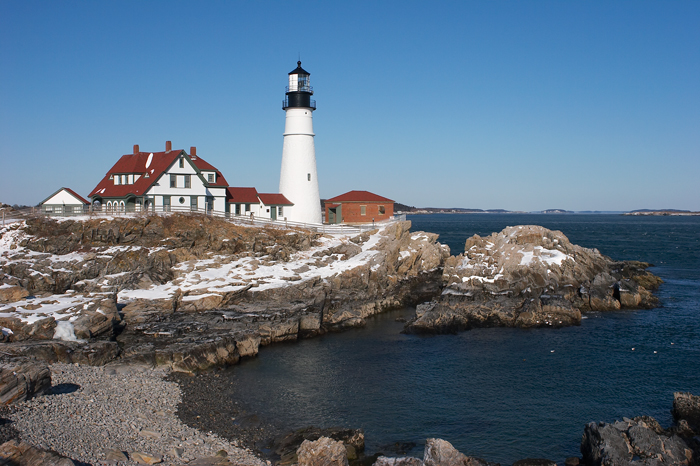 Winter, Portland, Portland Head Light, Maine, Lighthouse, New England, Coast, photo