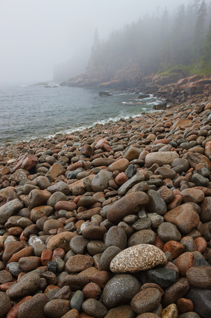 Acadia National Park, Maine, Coast, Rocks, Boulder Beach, Rain, Fog, Shore, New England Photo Workshops, photo