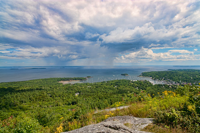 View of storm in Penobscot Bay near Camden, Maine