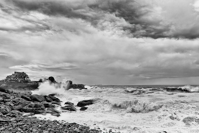 Rough seas at the shore after an evening storm.