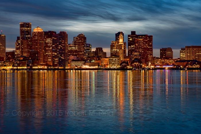 boston, skyline, new england, reflections, sky, sunset, harbor, photo