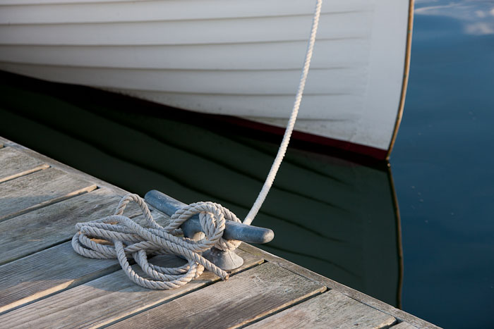 Wood boat, tied up, Rockland, Maine, photo