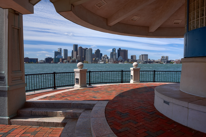 Boston, MA, Piers Park, Skyline, Harbor, waterfront, photo