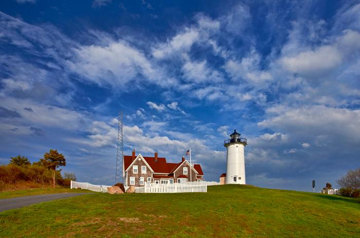 Lighthouse, lighthouse, Cape Cod, MA, Massachusetts, Woods Hole, Sky, Clouds, photo