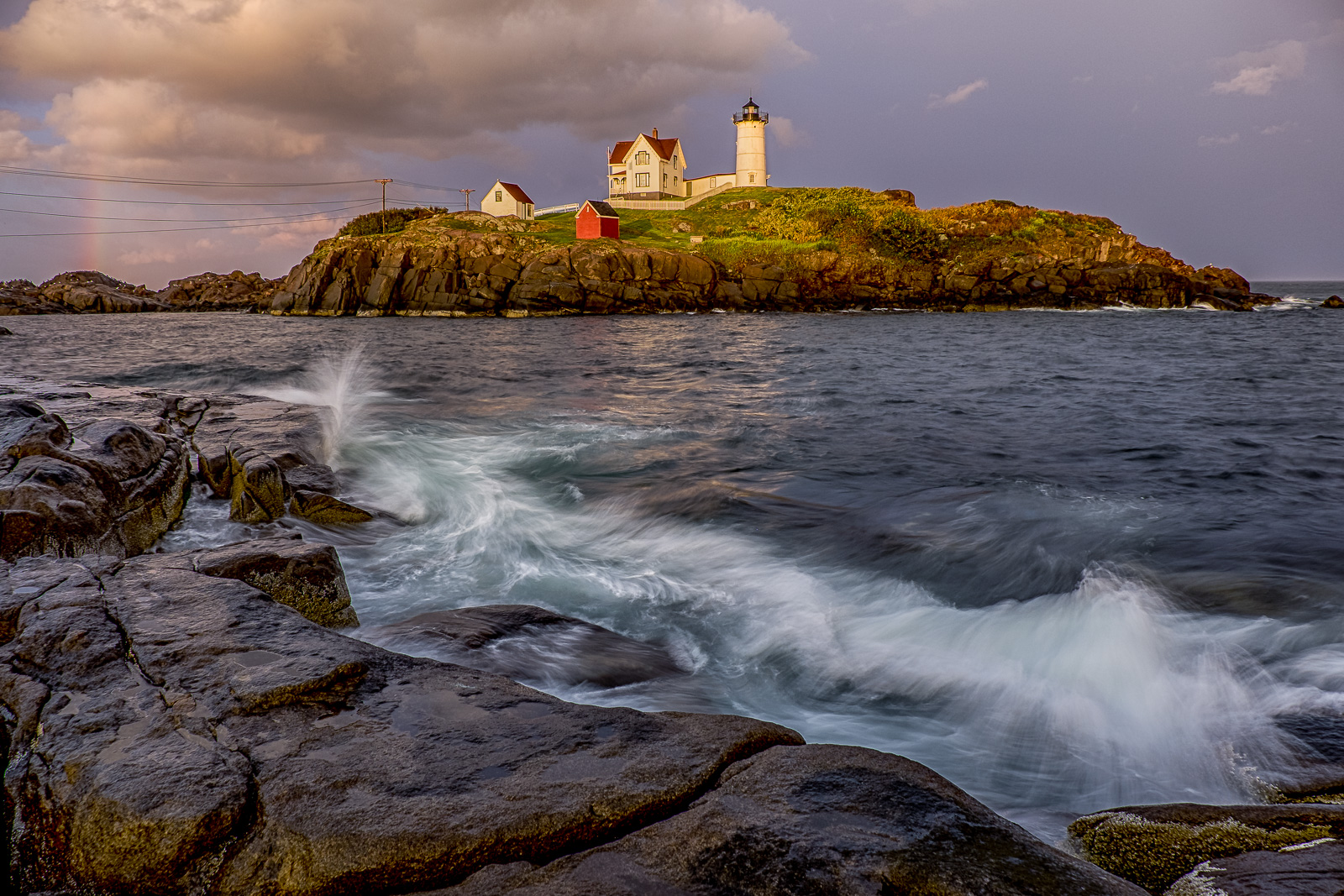 Maine,Maine Coast, lighthouse, ocean, storms, New England, rainbows, clouds, storms, photo