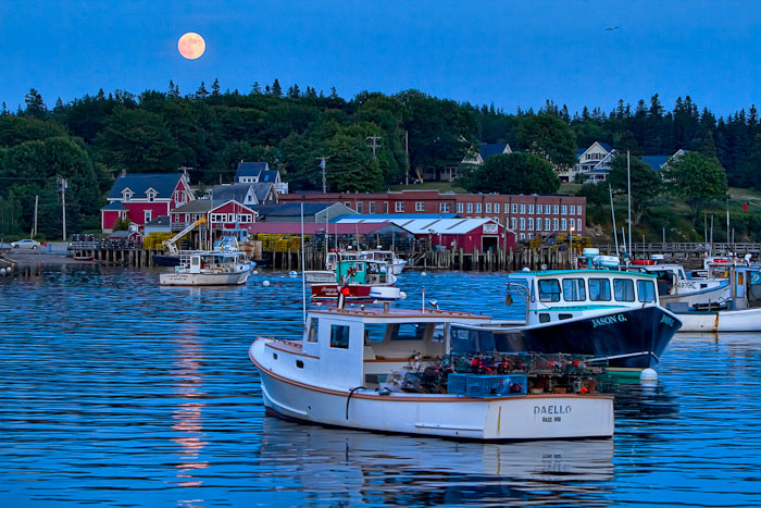 harbor, moon rising, lobster boats, New England Photo Workshops, photo