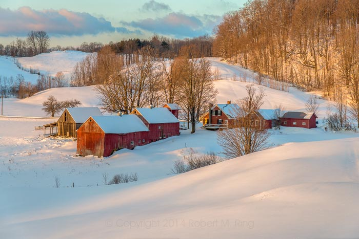 Winter, Dawn, Jenne Farm, farm, scenics, landscape, vermont, New England Photo Workshops, photo