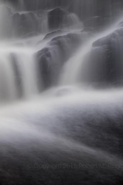 Water falls in slow motion