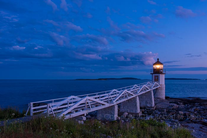 Samoset, blue hour, lighthouse, Maine, coast, New England, photo