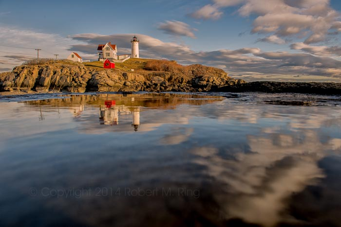 Nubble Light, lighthouse, afternoon, New England, Maine, photo