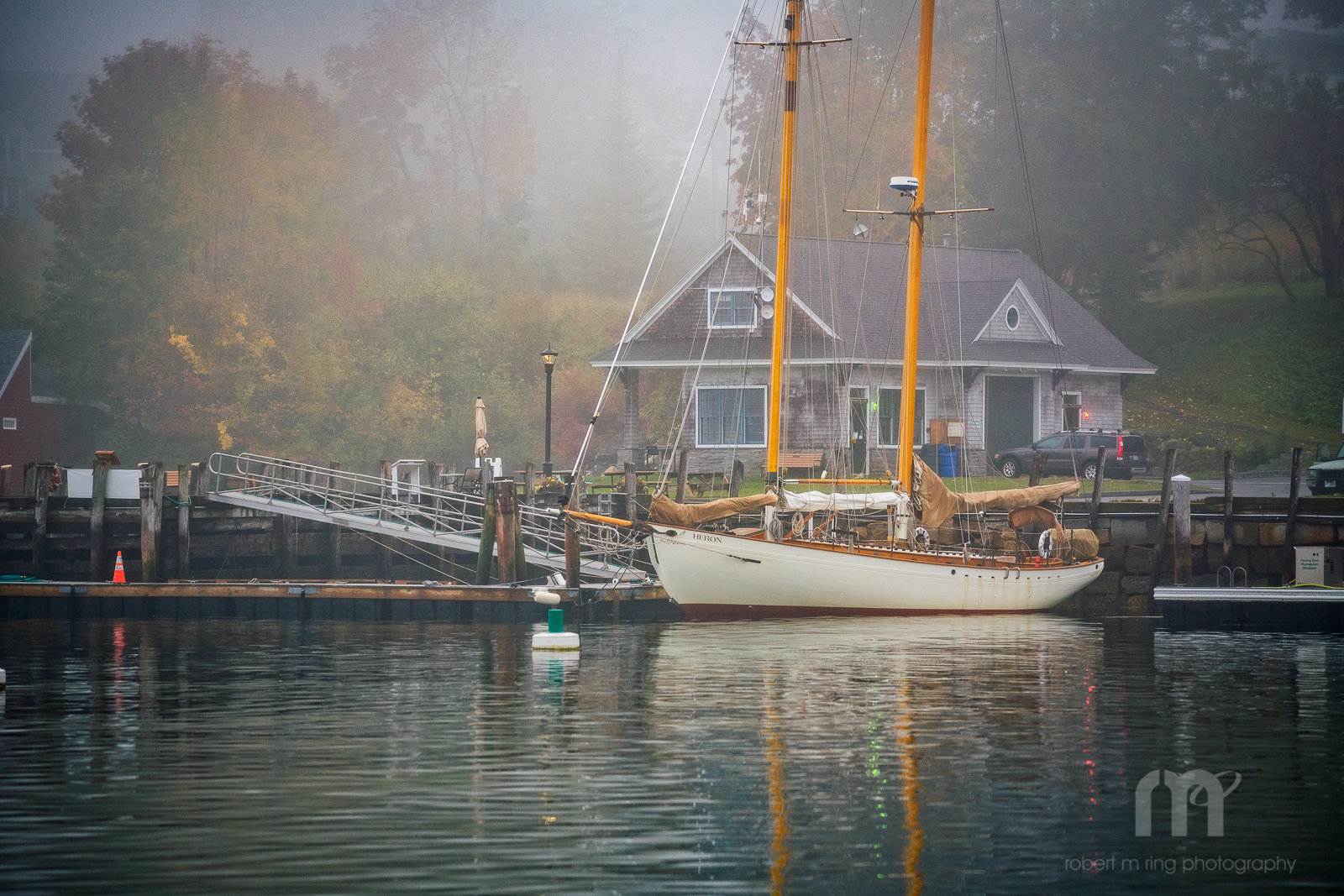 Maine, Samoset,fog,coast,new england,boat, photo