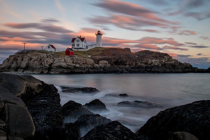 Nubble Light, New England, Maine, Sky, Clouds, Waves, photo
